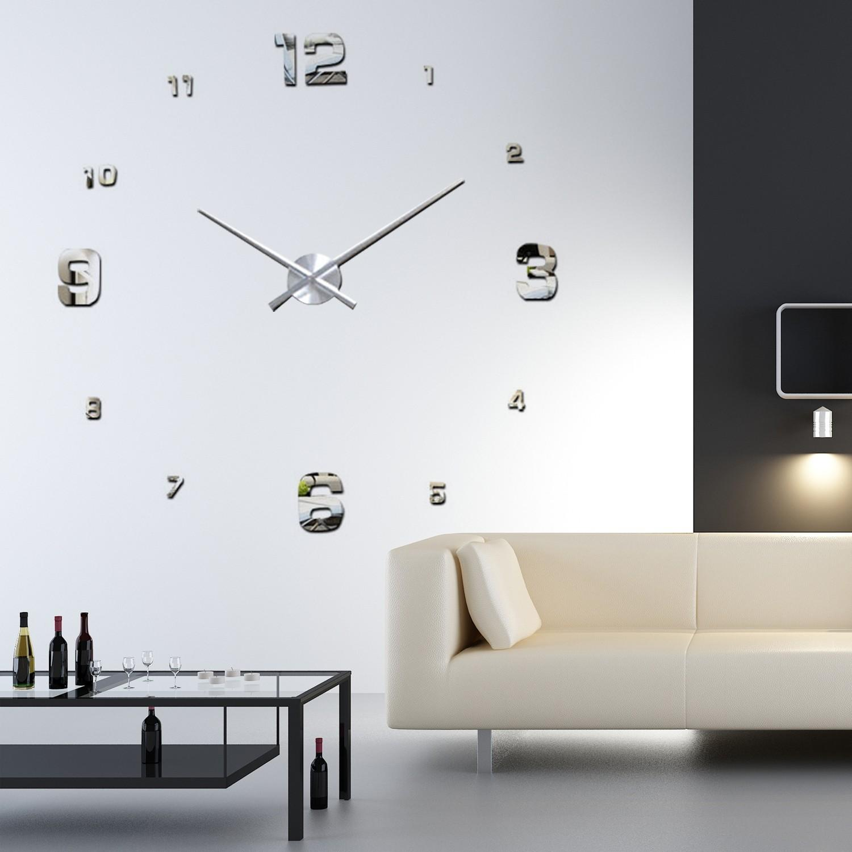 wandtattoo luxury diy wanduhr silber wandsticker. Black Bedroom Furniture Sets. Home Design Ideas