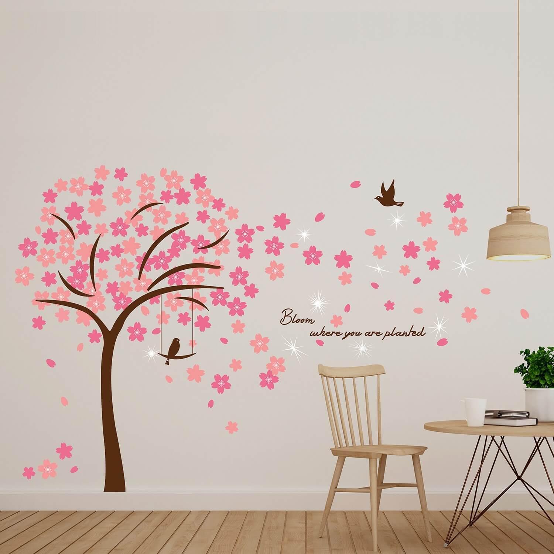 Walplus Wand Tattoo Crystal Pink Blossom Flowers Mit Swarovski